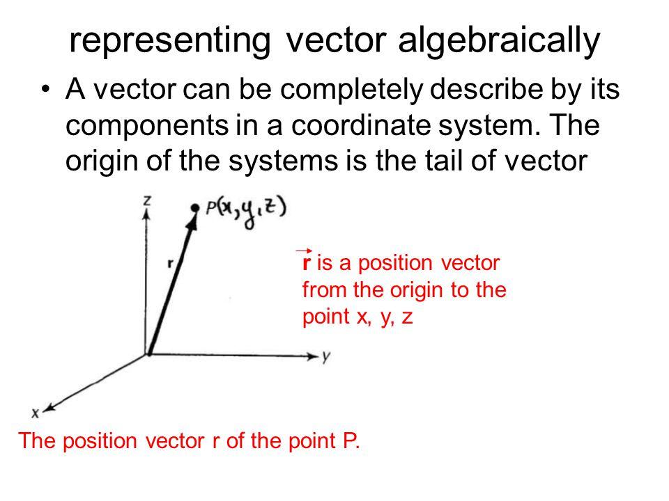 representing vector algebraically