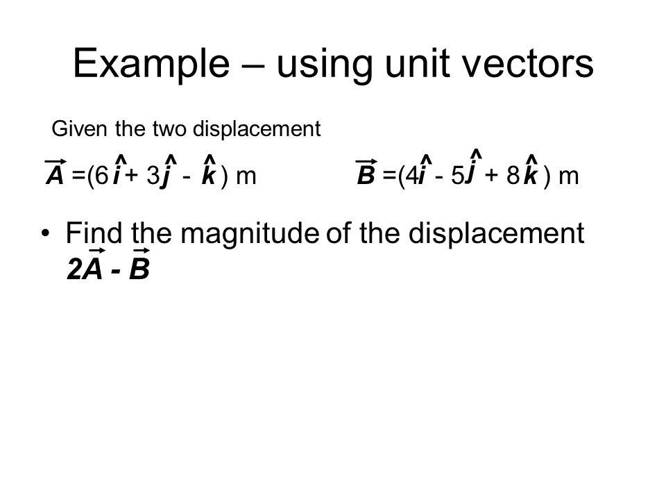 Example – using unit vectors