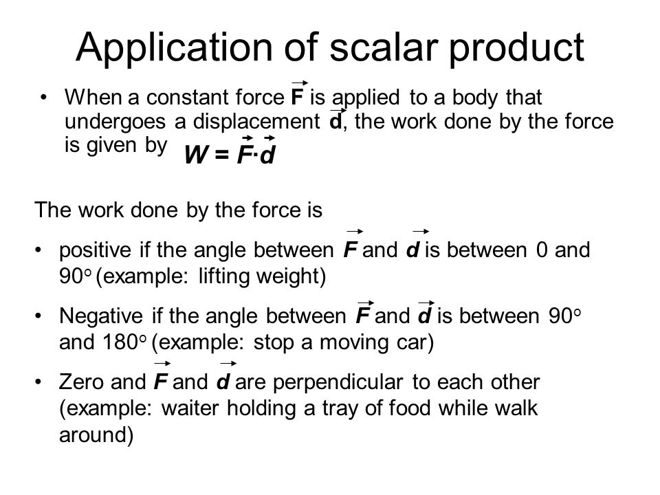 Application of scalar product