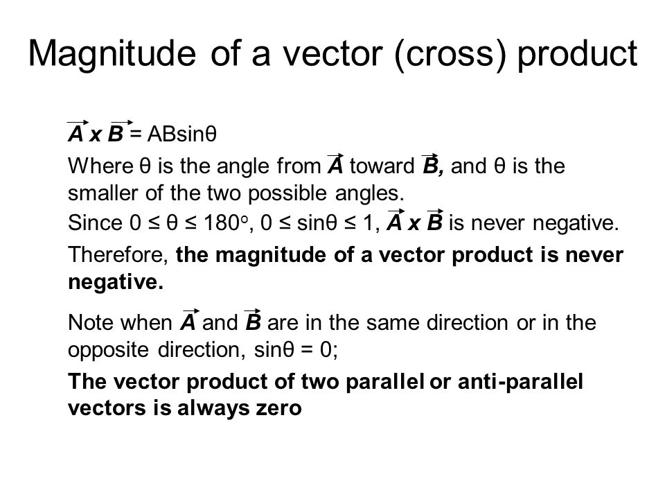 Magnitude of a vector (cross) product