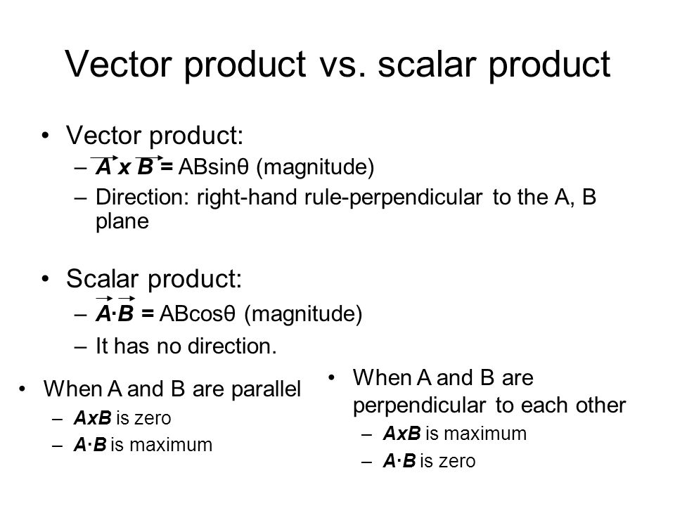 Vector product vs. scalar product