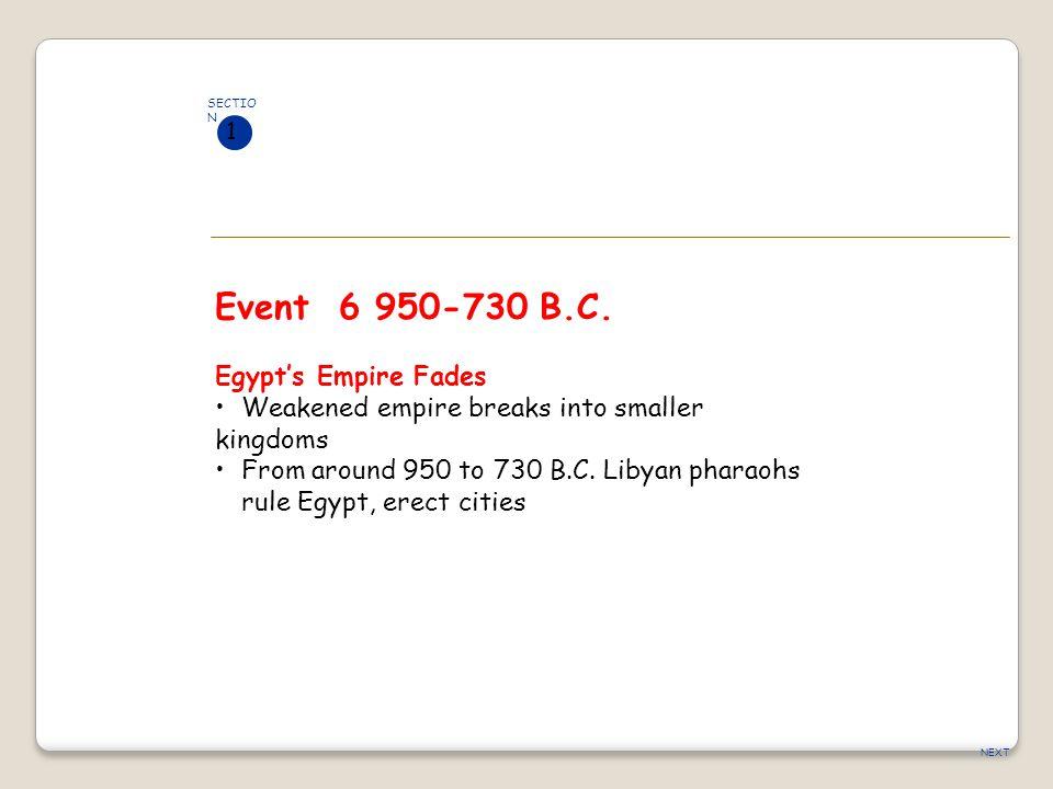 Event 6 950-730 B.C. Egypt's Empire Fades