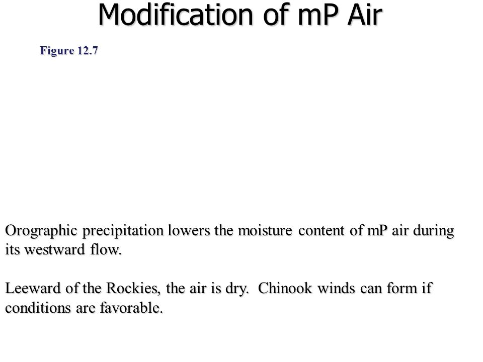 Modification of mP Air Figure 12.7. Orographic precipitation lowers the moisture content of mP air during its westward flow.