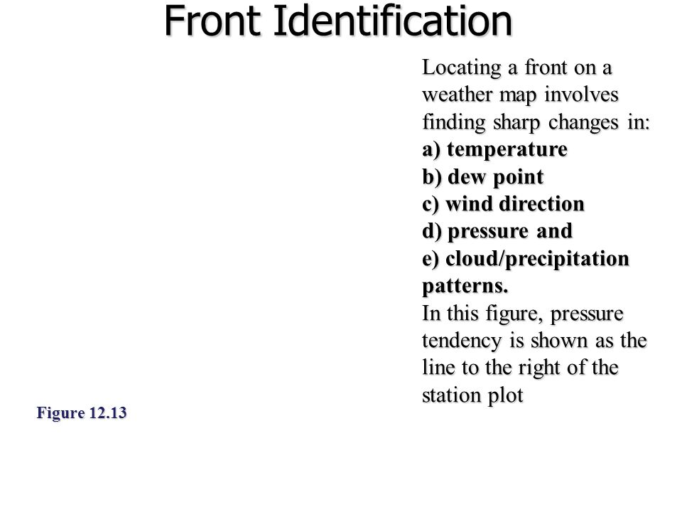 Front Identification Locating a front on a weather map involves finding sharp changes in: a) temperature.