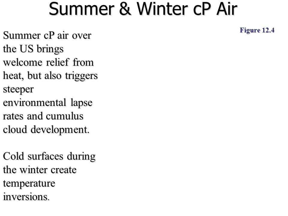 Summer & Winter cP Air Figure 12.4.
