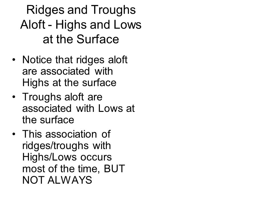Ridges and Troughs Aloft - Highs and Lows at the Surface