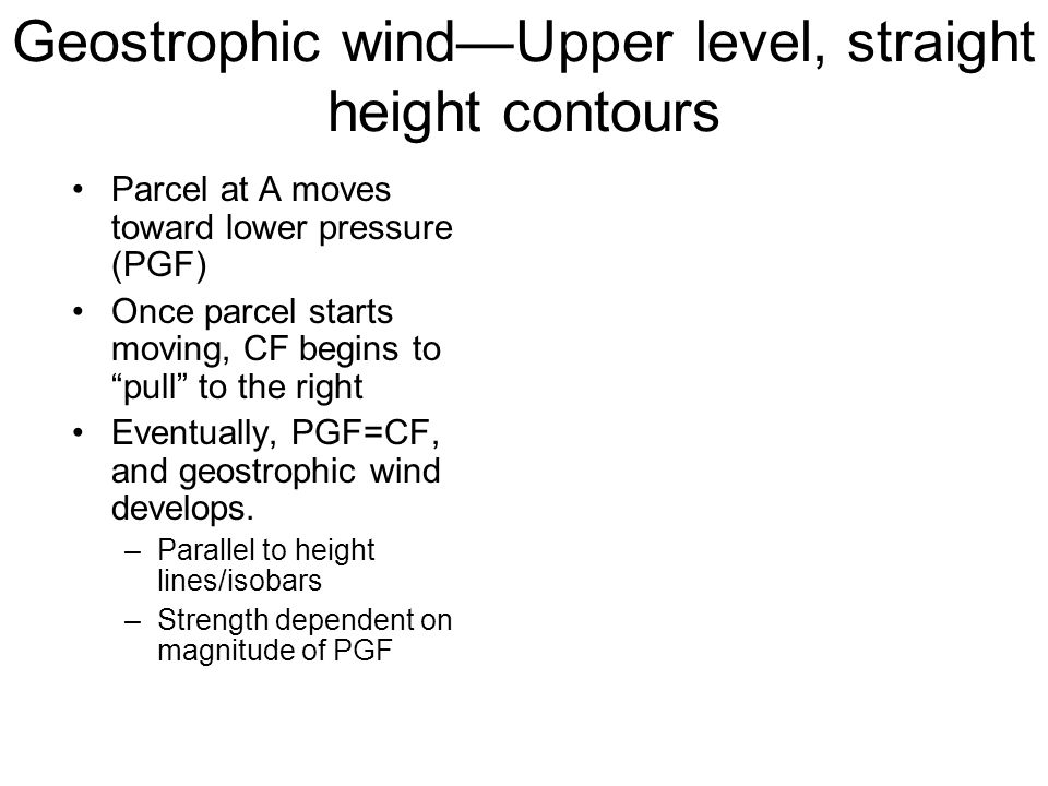 Geostrophic wind—Upper level, straight height contours