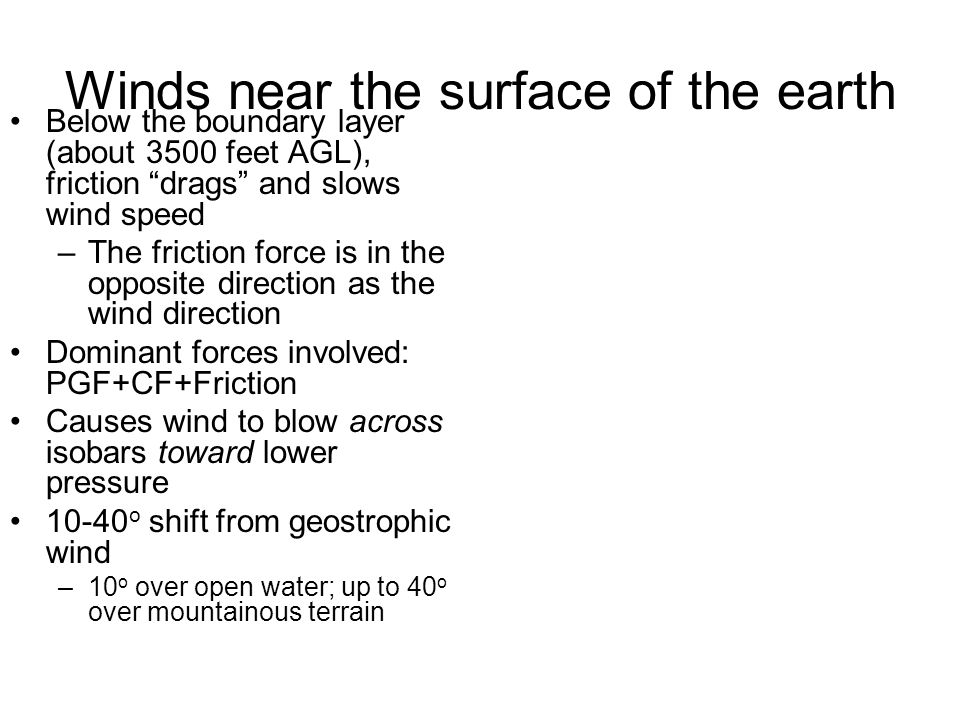 Winds near the surface of the earth