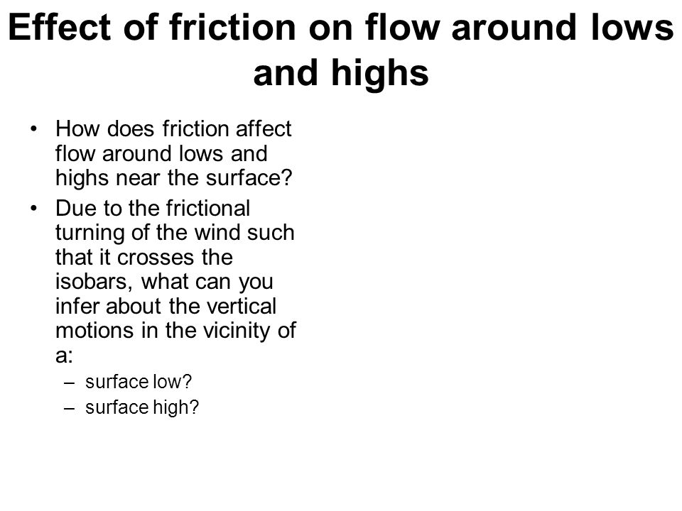 Effect of friction on flow around lows and highs