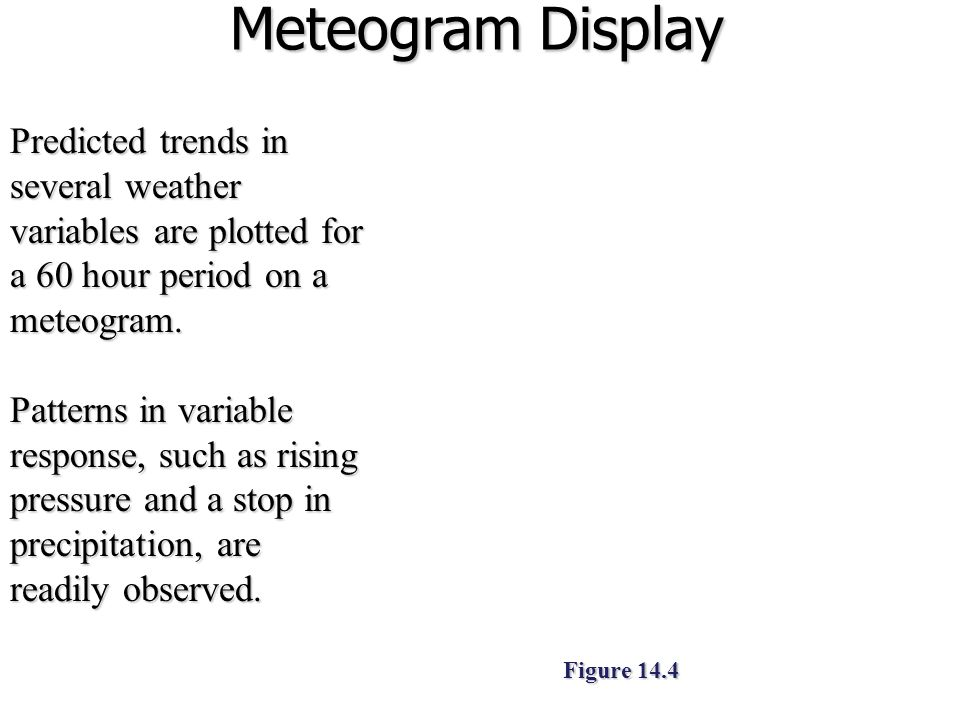 Meteogram Display Predicted trends in several weather variables are plotted for a 60 hour period on a meteogram.