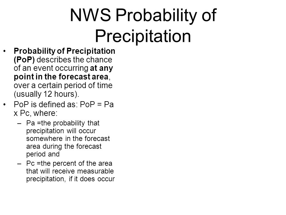 NWS Probability of Precipitation