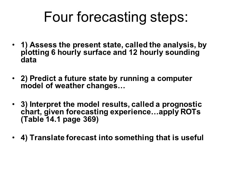 Four forecasting steps: