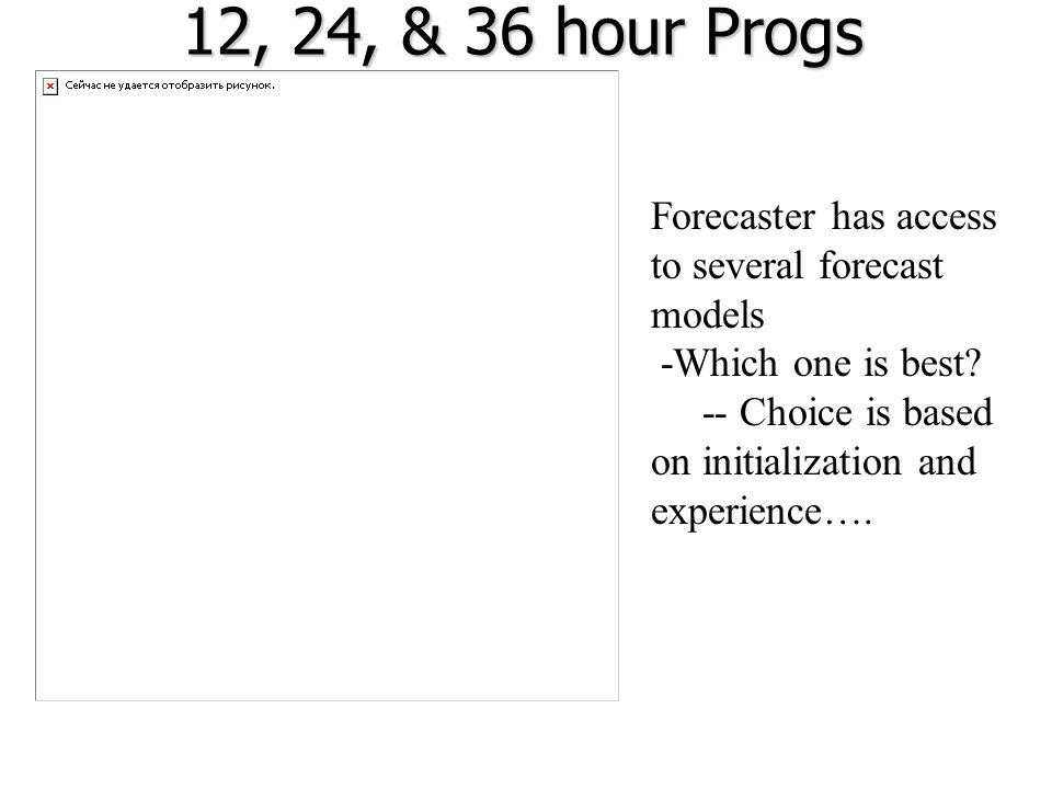 12, 24, & 36 hour Progs Forecaster has access to several forecast models.