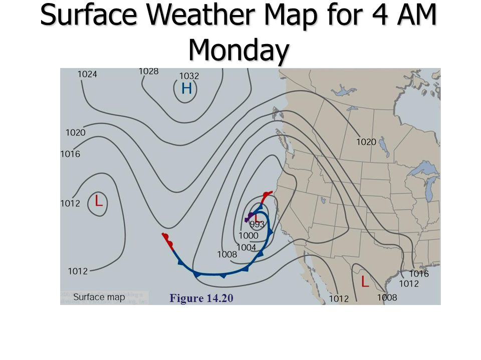 Surface Weather Map for 4 AM Monday
