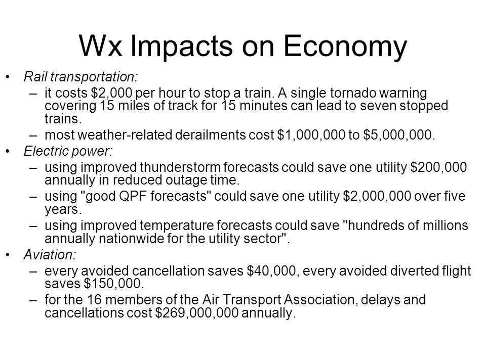 Wx Impacts on Economy Rail transportation: