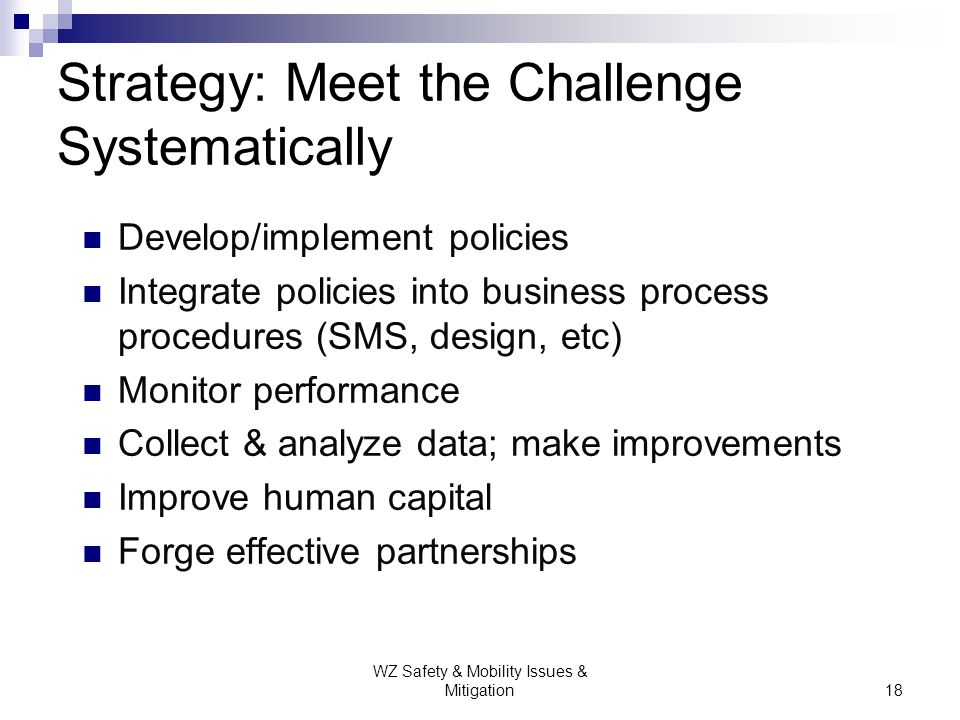 Strategy: Meet the Challenge Systematically