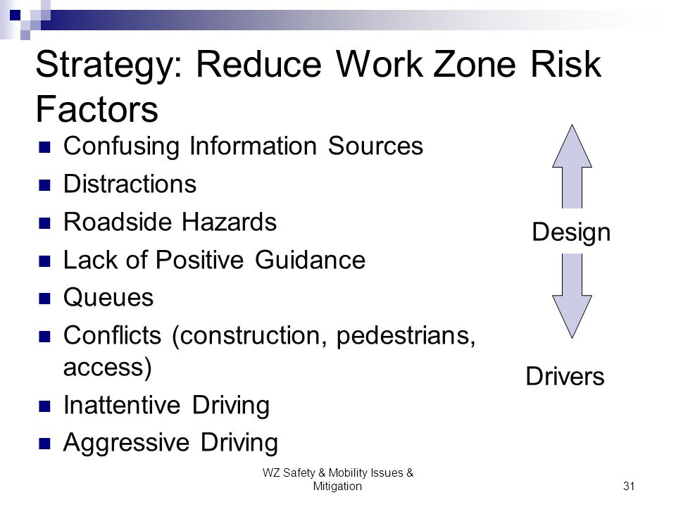 Strategy: Reduce Work Zone Risk Factors