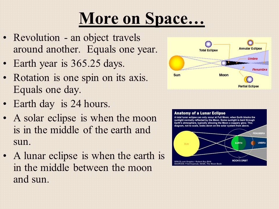 More on Space… Revolution - an object travels around another. Equals one year. Earth year is 365.25 days.