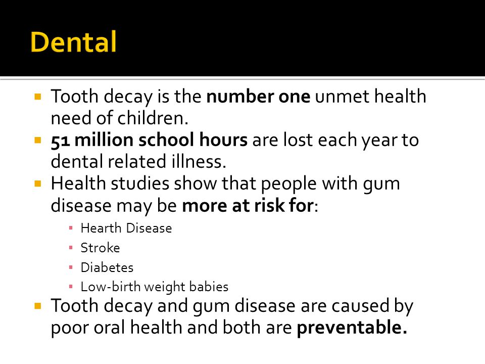 Dental Tooth decay is the number one unmet health need of children.