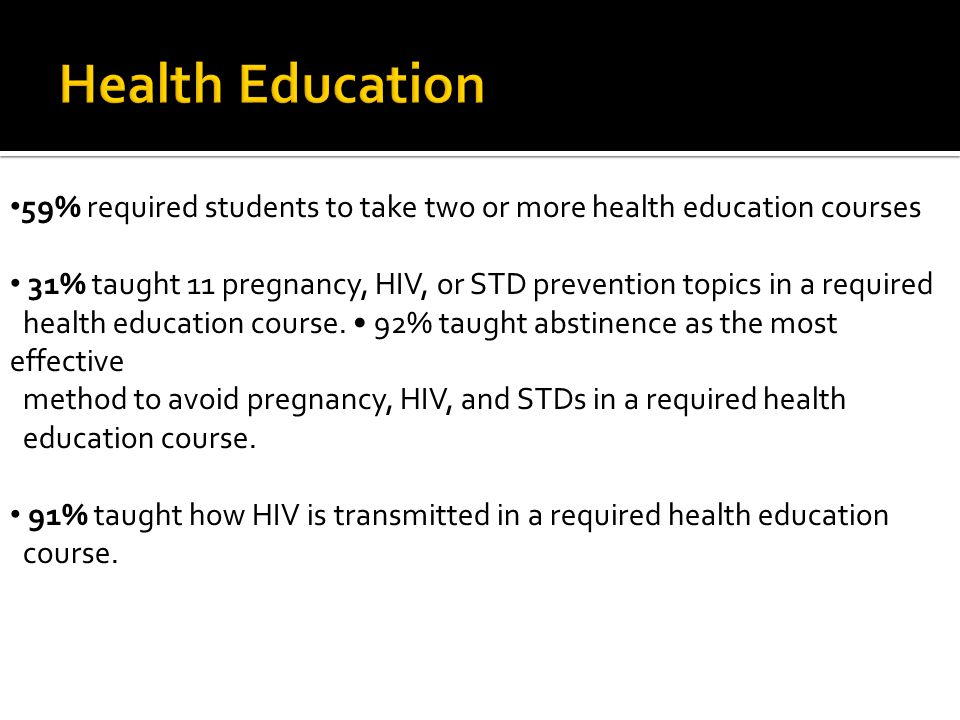 59% required students to take two or more health education courses