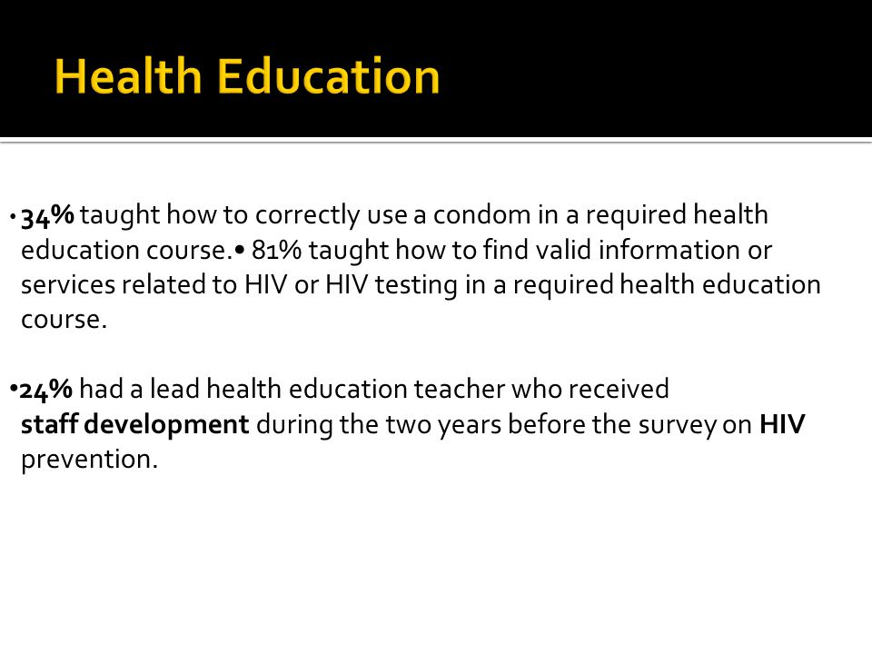 34% taught how to correctly use a condom in a required health
