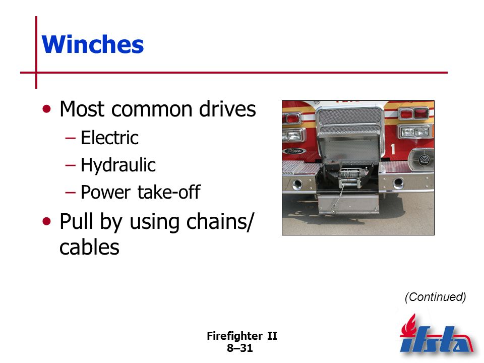 Winches Most common drives Pull by using chains/ cables Electric