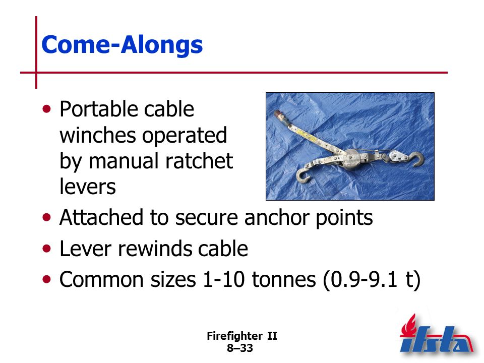 Come-Alongs Portable cable winches operated by manual ratchet levers