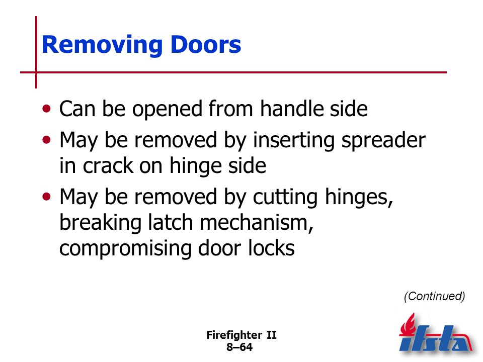 Removing Doors Can be opened from handle side