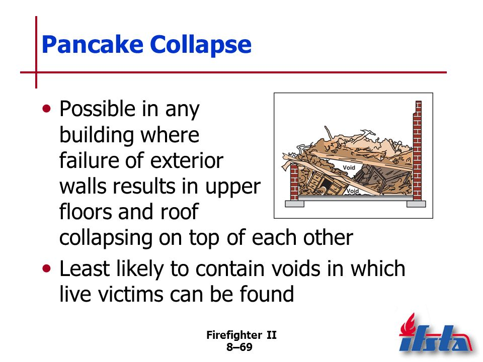 Pancake Collapse Possible in any building where failure of exterior walls results in upper floors and roof collapsing on top of each other.