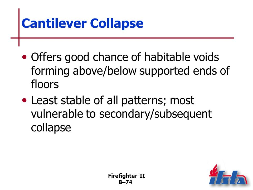 Cantilever Collapse Offers good chance of habitable voids forming above/below supported ends of floors.