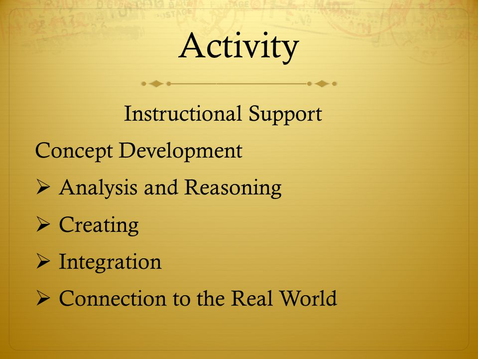 Activity Instructional Support Concept Development