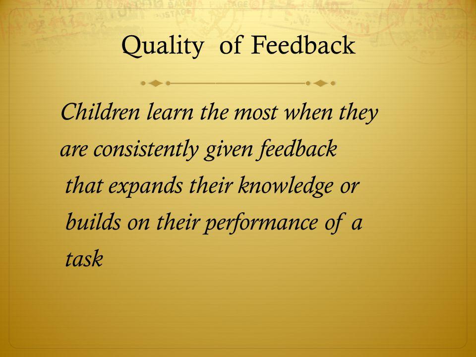 Quality of Feedback