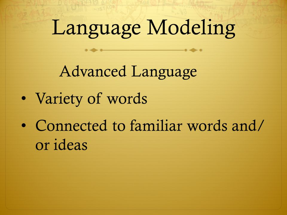 Language Modeling Variety of words