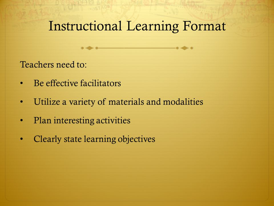 Instructional Learning Format