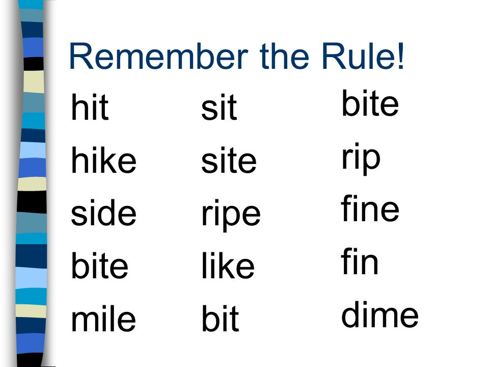 Remember the Rule! bite rip fine fin dime hit hike side bite mile sit site ripe like bit