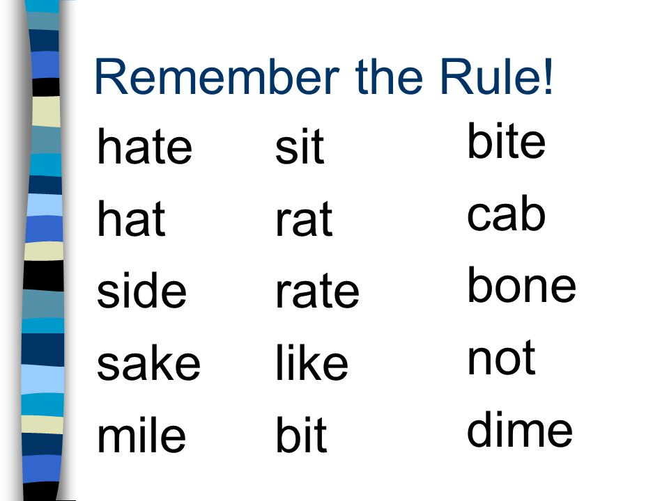 Remember the Rule! bite cab bone not dime hate hat side sake mile sit rat rate like bit