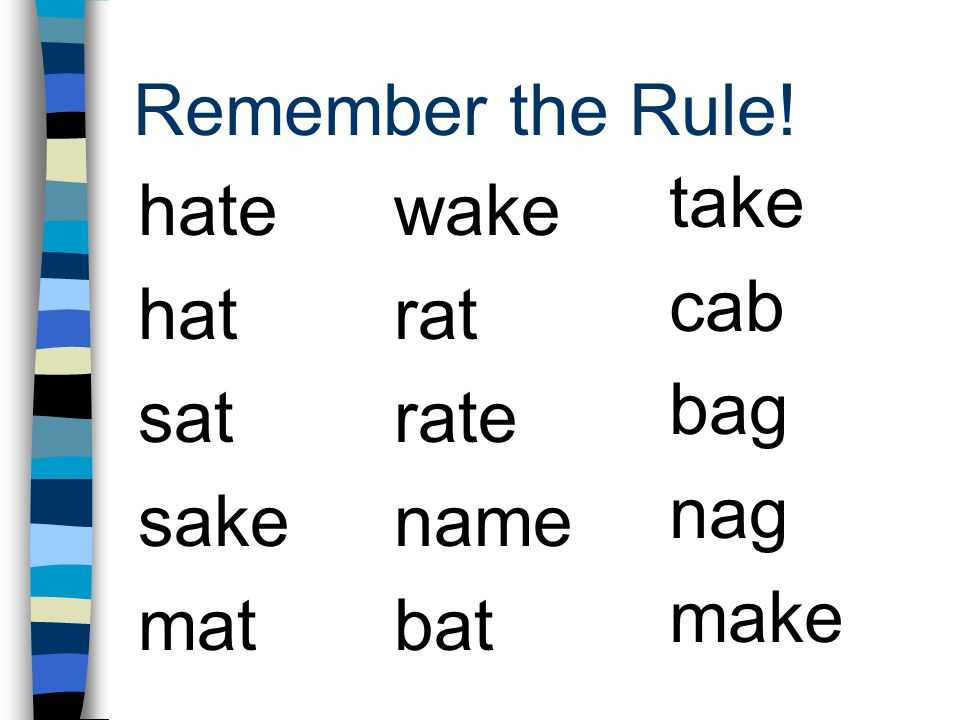 Remember the Rule! take cab bag nag make hate hat sat sake mat wake rat rate name bat