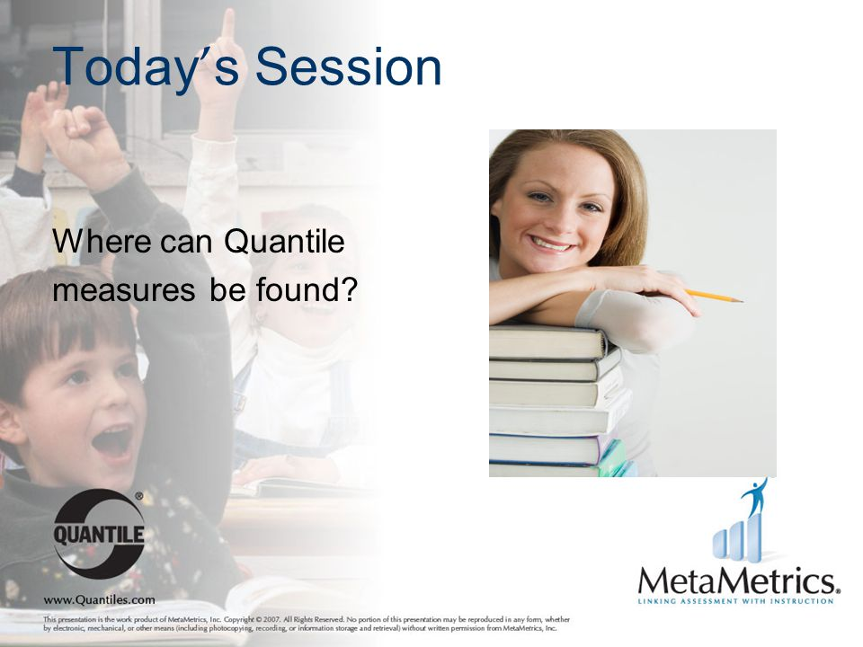 Today's Session Where can Quantile measures be found