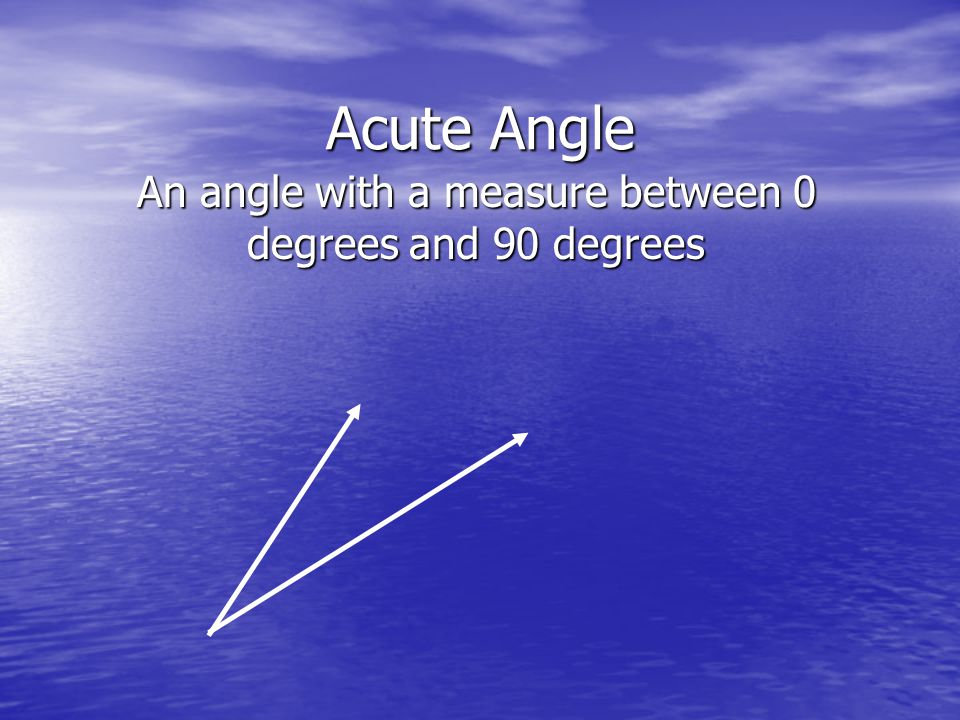 An angle with a measure between 0 degrees and 90 degrees
