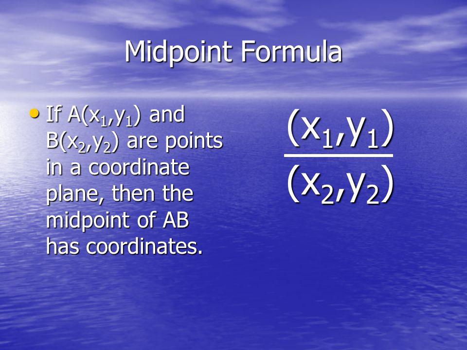 (x1,y1) (x2,y2) Midpoint Formula