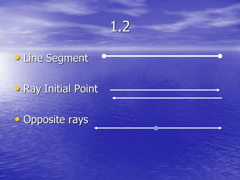 1.2 Line Segment Ray Initial Point Opposite rays
