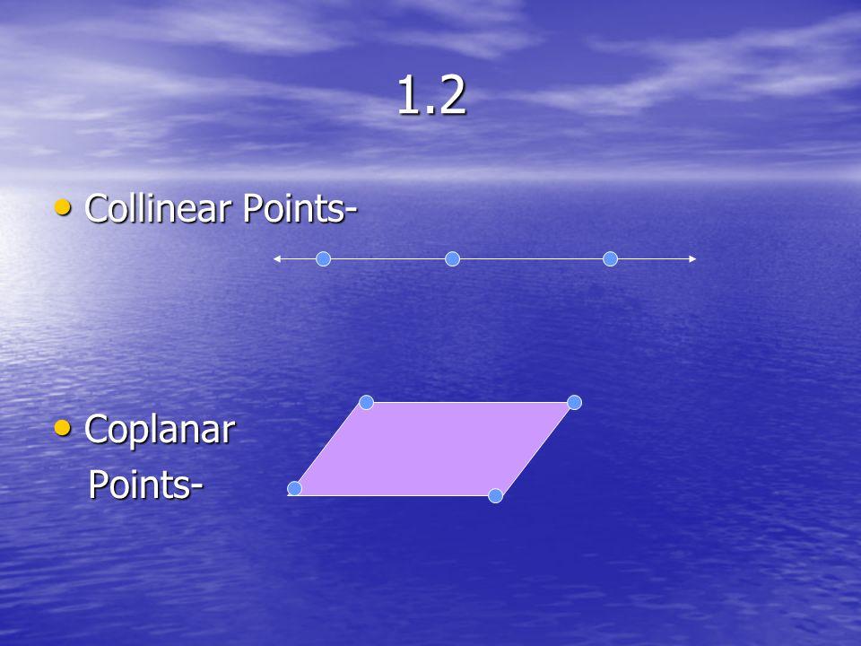 1.2 Collinear Points- Coplanar Points-