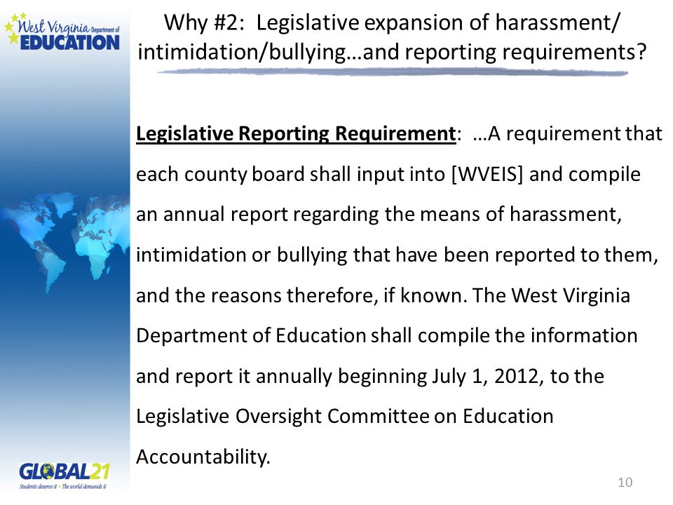 Why #2: Legislative expansion of harassment/ intimidation/bullying…and reporting requirements