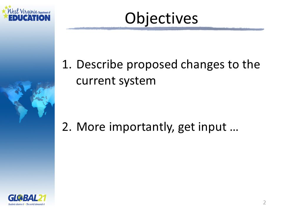 Objectives Describe proposed changes to the current system