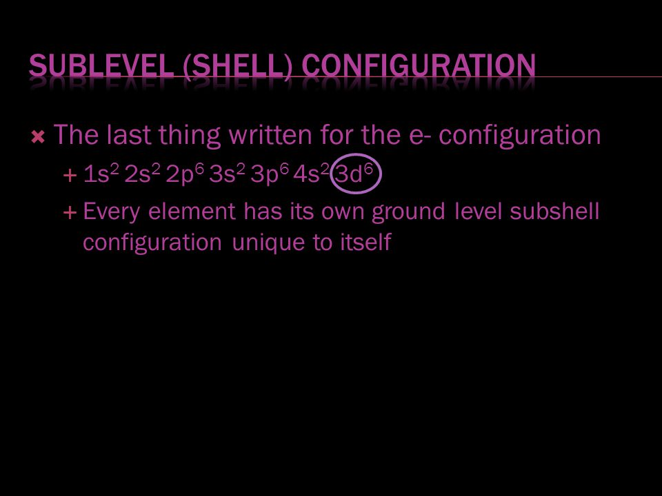 Sublevel (shell) configuration