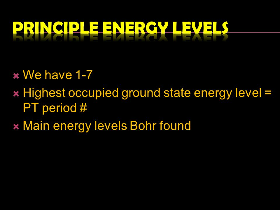 Principle Energy levels