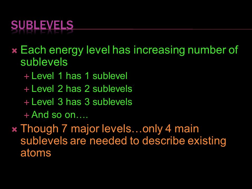 sublevels Each energy level has increasing number of sublevels