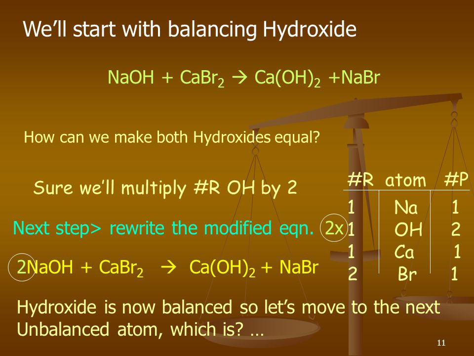 We'll start with balancing Hydroxide
