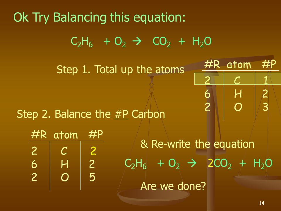 Ok Try Balancing this equation: