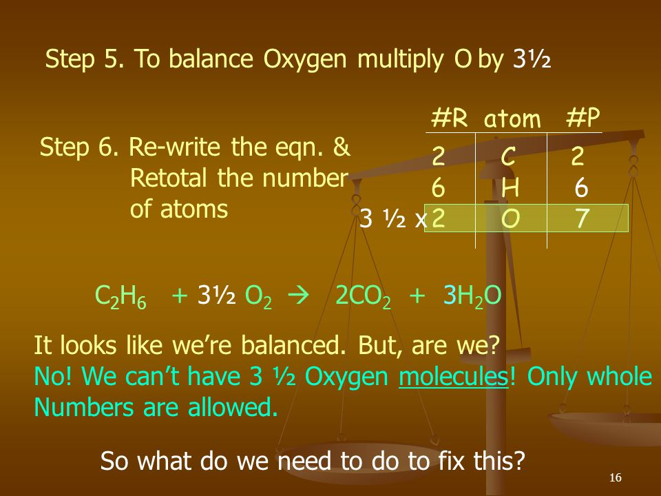 Step 5. To balance Oxygen multiply O by 3½